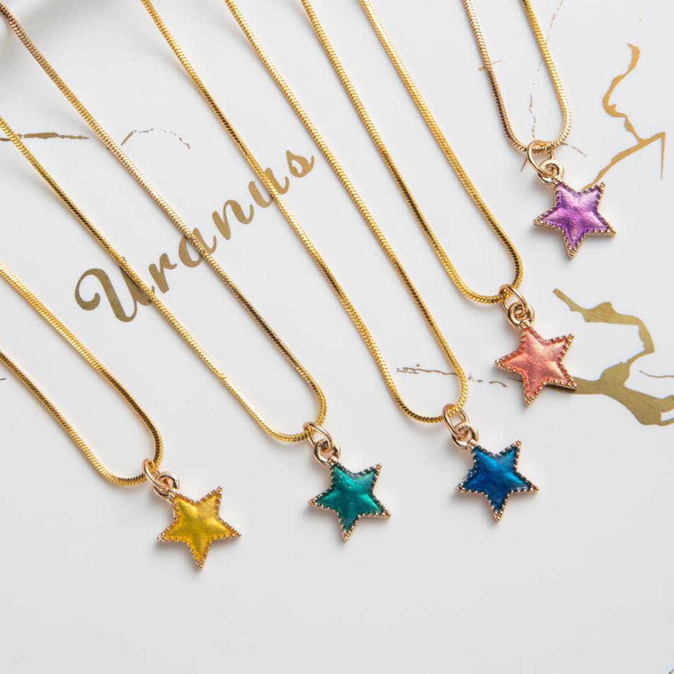 Lock Daisy Sea Star Shell Heart Shaped Pendant Women's Necklace White Blue Black Pink Colors Choker Necklaces Fashion Jewelry