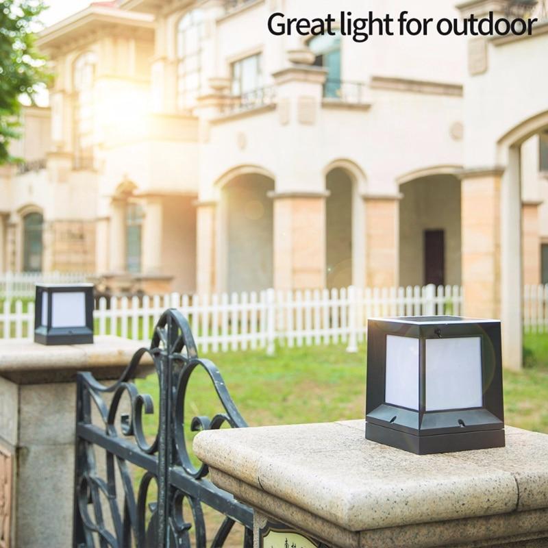 Lampe de colonne solaire chaude en aluminium moulé sous pression sans fil étanche bicolore Led colonne lampe de tête lampe de colonne extérieure de jardin 2 - 5