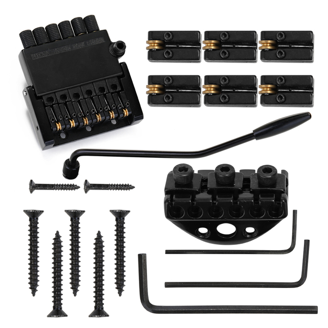 6 String Roller Tremolo Headless Bridge Tailpiece with Mount Screws Wrenches Tremolo Bridges for Headless Guitar