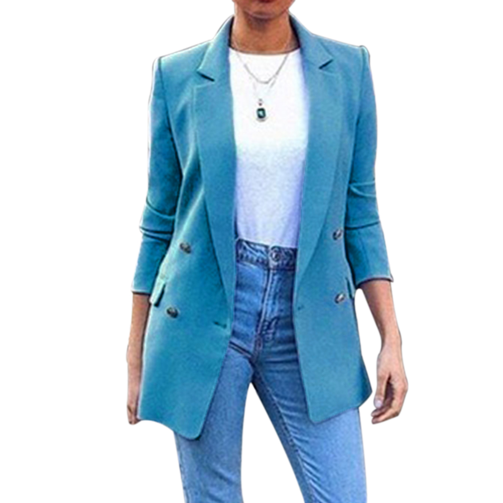 WENYUJH Plus Size Ladies Long Blazer Jacket Womens Fashion Solid Double Breasted Office Blazers Coats Female Business Overcoat