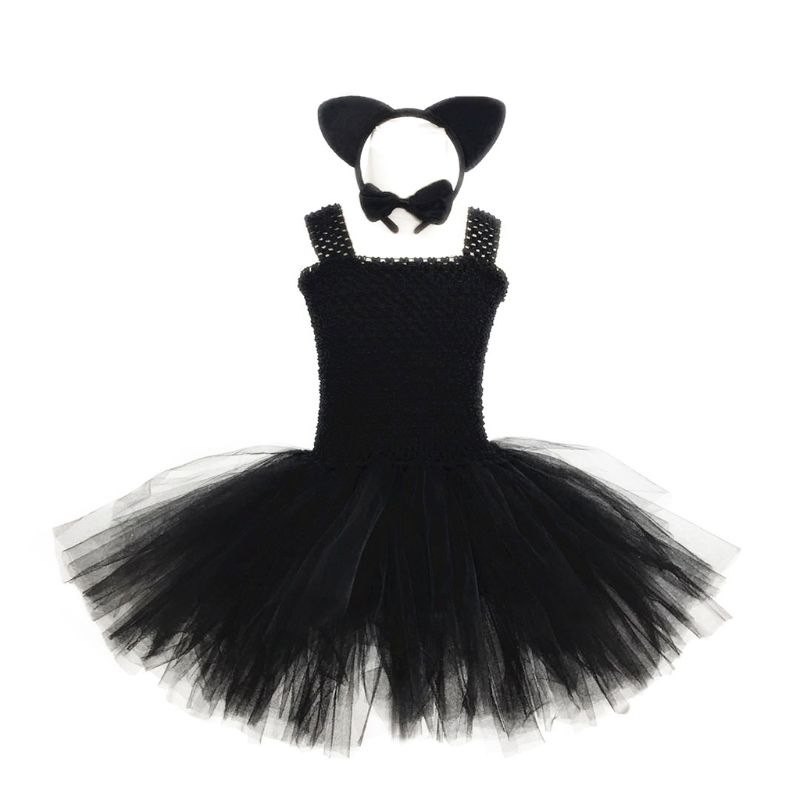 Children Girls Halloween Costume Pettiskirt Dress Headband Tie Tail Suit
