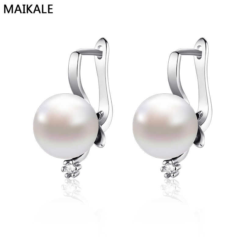 MAIKALE Fashion Rhinestones Silver Pearl Earrings For Women Jewelry Zircon Gold Hoops Zirconia CZ Stud Earrings Korean Earing