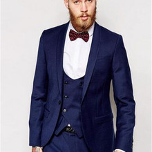 Wedding-Tuxedos Shawl Lapel Custom-Made Pants Jacket Party-Suits Mens Formal Dark-Blue