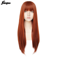 Pink Synthetic Hair-Cap Bangs Brown Grey White Wig With Long Natural Straight Women Ebingoo