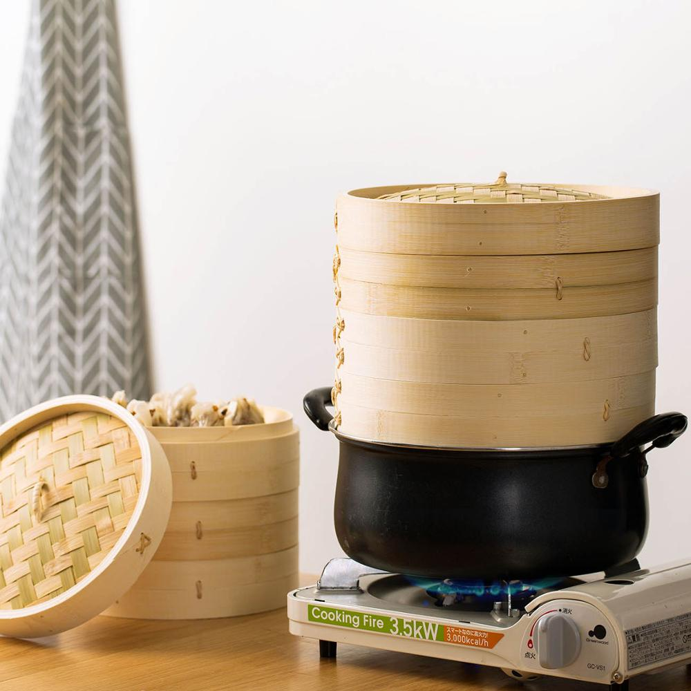 25CM/21CM Cage+Cover Cooking Bamboo Steamer Household Multi-layer Dumplings Bamboo Cage With Cover Kitchen Cooking Tools