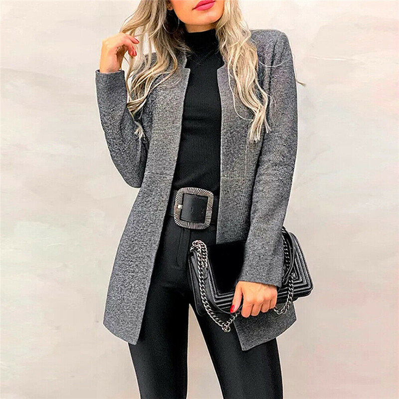 Duzeala Jacket Cotton Women Autumn Winter Long Sleeve Cardigan Long Coat Fashion Suit Collar Ladies Office Clothing Workwear