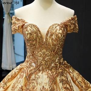 Image 5 - Robe de mariée dorée, robe de mariée luxueuse, sans manches, à épaules dénudées, avec paillettes, haut de gamme, HM66709, modèle 2020