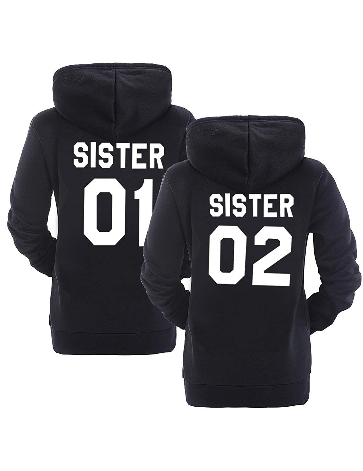 SISTER 01 SISTER 02 Sisters Jacket Cotton Terry Hooded Hoodie Big Size Sweatshirts