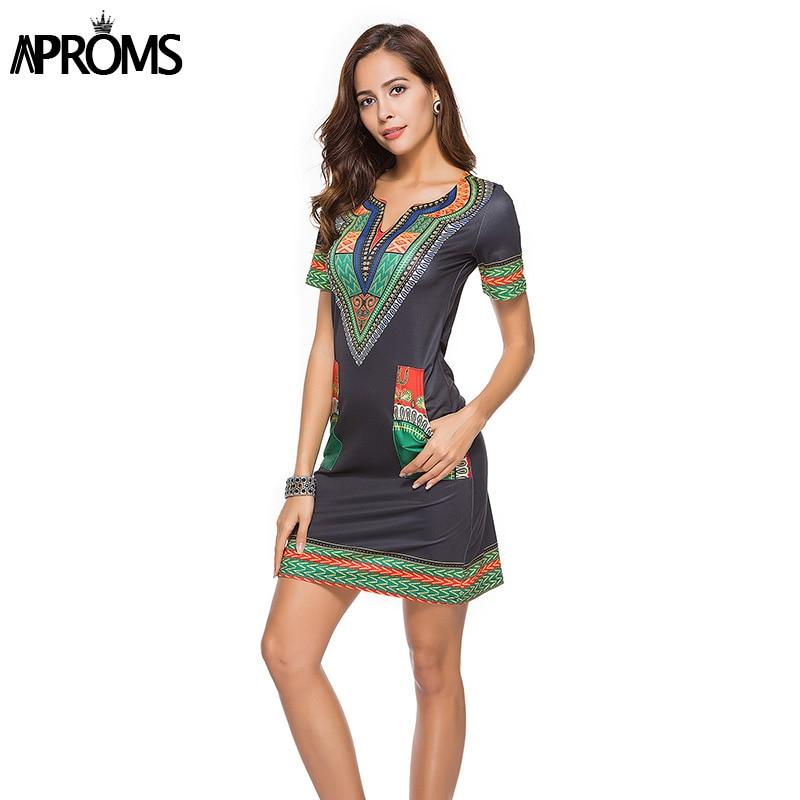 Aproms Sexy V Neck Pocket Patchwork Bodycon Tunic Dress Women Summer 2020 Robe African Print Dashiki Dresses Sundresses Vestidos 1