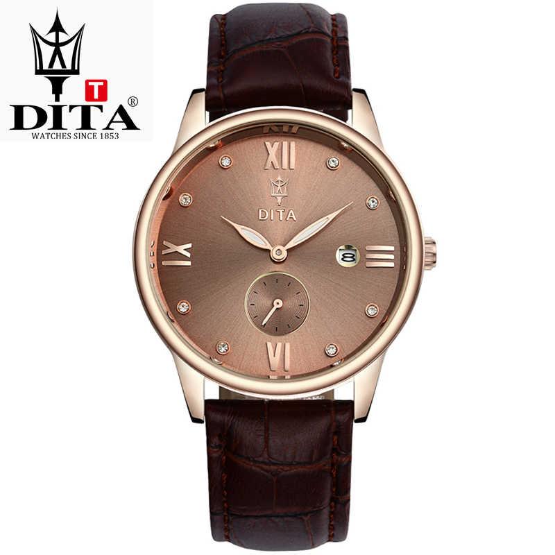 Reloj de esfera de oro rosa de alta calidad de cuero resistente al agua 30M relojes de moda de negocios Japón movimiento de cuarzo Auto fecha Mal