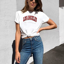 Camiseta con estampado de las letras de Los Ángeles y California para mujer, blusa Kawaii a la moda de Los 70, playera blanca informal divertida Vintage