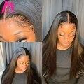 28, 30, 40 дюймов, 13x4, прямые человеческие волосы на кружеве, парики, бразильские, предварительно сорванные, натуральный фронтальный парик, без к...