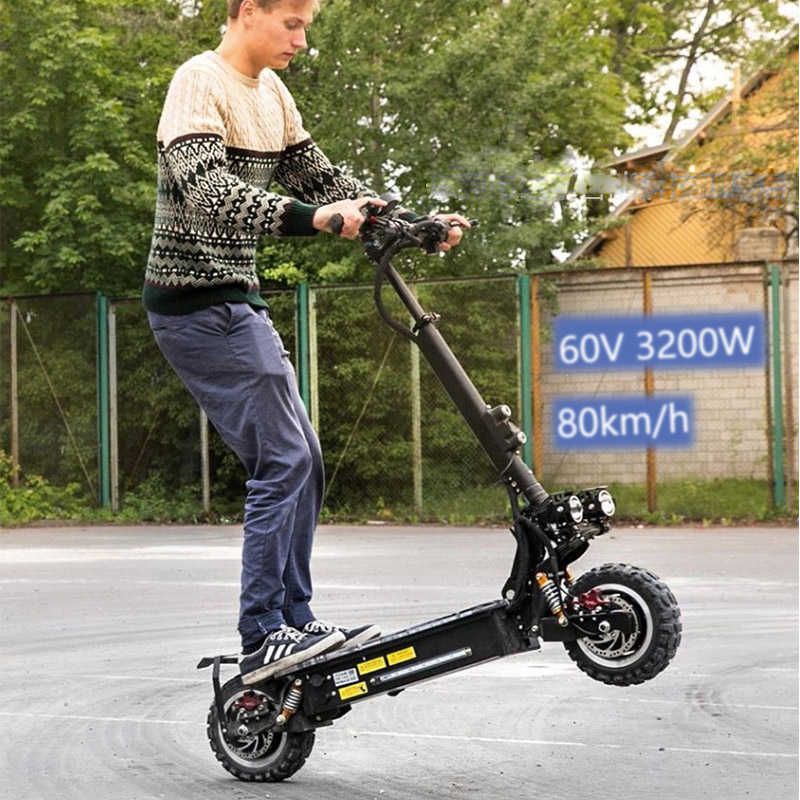 "JS Off Road Electric Scooter 11""3200W 60V 80km/h E Scooter Adult Foldable Escooter Samsung Battery Patinete Eletrico Hoverboad"