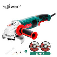 LANNERET Electric Angle Grinder 1050W 125mm Variable Speed 3000-10500RPM Toolless Guard for Cutting Grinding Metal or Stone Work
