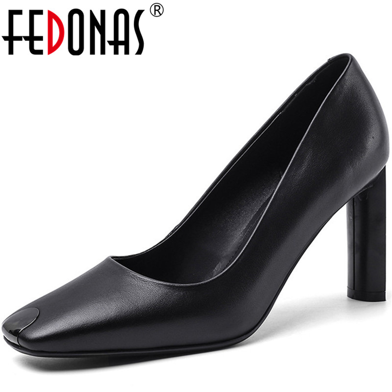 FEDONAS Women High Heels Genuine Leather Party Wedding Prom Shoes Elegant Sexy Round Toe Square Heeled Spring Autumn Shoes Woman