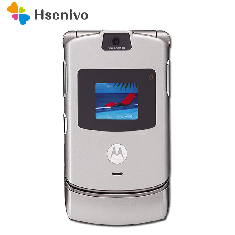 Motorola Razr V3 100%Good-Quality GSM Refurbished Mobile-Phone Original One-Year-Warranty title=