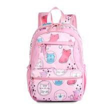 Girls Backpack Primary Secondary School Students Bag Polyester Water Resistant Schoolbag with Large Capacity Pink(China)
