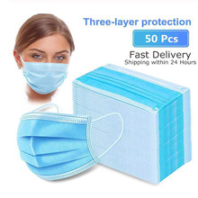 3-layer mask 50pcs Face Mouth Masks Meltblown cloth Masks Non Woven Disposable Anti-Dust Earloops Masks(China)