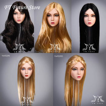 In Stock 1/6 YMT029 Female Figure The Roses Suntan Head Sculpt Carving Planted Hair Model for 12 Female Phicen Body Toy 1 6 female head carving elf girl head carved black blond hair detachable ears sculpt model for 12 phichen pale suntan figure