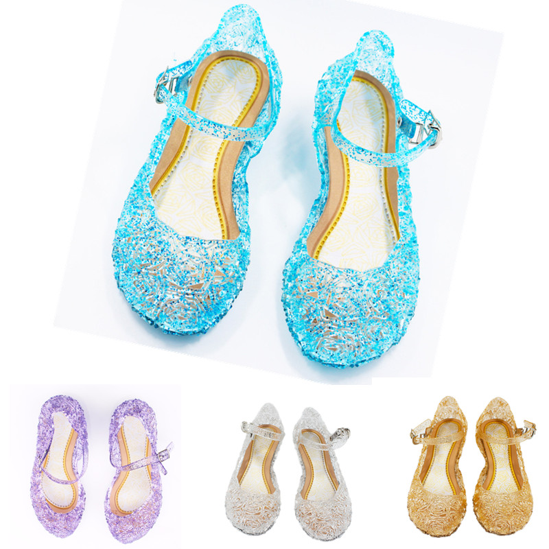 Baby Girl Kids Summer Crystal Sandals Princess High-Heeled Shoes Princess Elsa Cosplay Party Shoes Girls Jelly Wedge Shoes