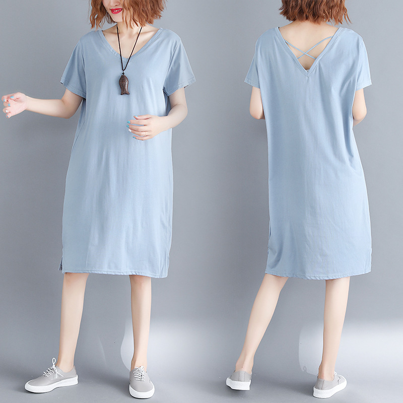 Photo Shoot Large Size Dress Summer Wear 200 Loose-Fit V-neck Long Slim Fit T-shirt Dress Price Floor 36