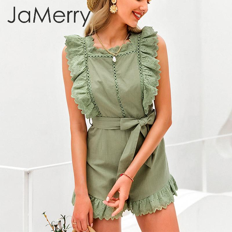 JaMerry Elegant Ruffle Sleeveless Playsuit Women Hollow Out White Female Jumpsuit Romper Holiday Summer Cotton Jumpsuit Overalls