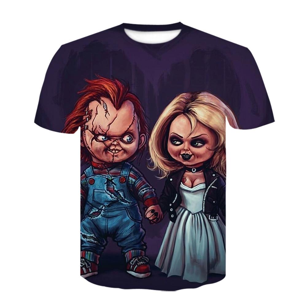 2021 летняя футболка с 3D-принтом невесты Чаки, футболка с круглым вырезом клоуна It, мужские/женские футболки в стиле Харадзюку, Забавный дизай...