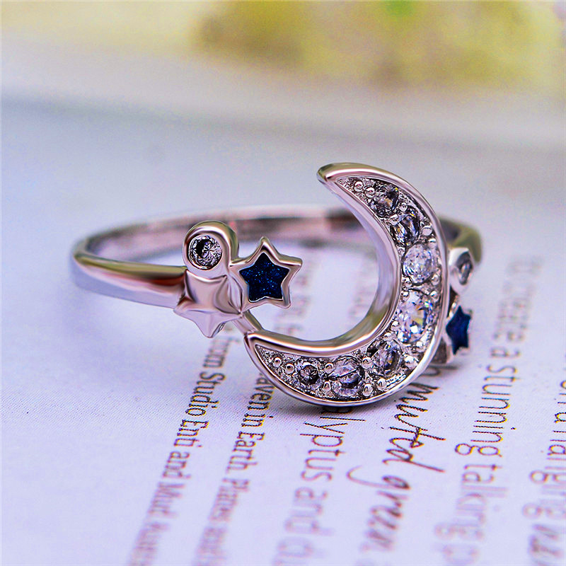 Fashion Female Ladies Blue Star Moon Ring Crystal Vintage 925 Sterling Silver Wedding Ring Promise Engagement Rings For Women