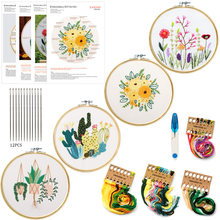 1 Pack Embroidery Flower Kit With Pattern+Instructions, Needlework DIY Beginner Stitch Kit Include 1 Embroidery Tools Hoop