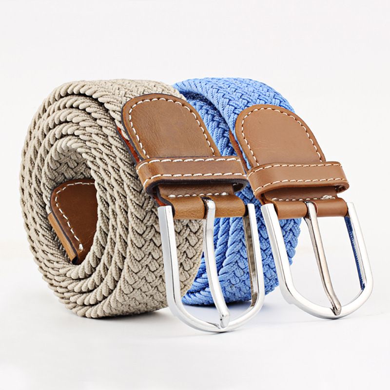 Canvas Belts Elastic Women Jeans Knitted-Buckle Male High-Quality Fashionable for M076