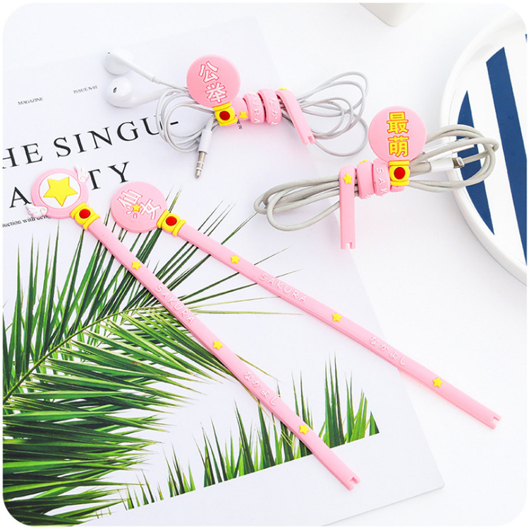 Cute Cartoon Soft Girl Cable Winder Pink Fairy Earphones Hub Cable Winder Data Cable Organizing Storage