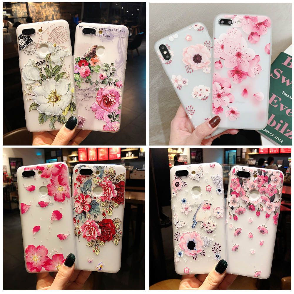 3D Relief Floral Phone Case For OPPO A5 A9 A31 2020 A7 A5S A71 A8 A11X Realme X XT X2 K3 K5 Reno 2 3 Pro Girly Soft TPU Cover