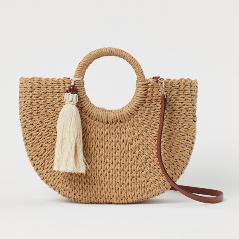 Women's Accessories Bags Spring / Summer 2020 New Fashion Casual Round Handle Thick Papyrus Woven Shopping Bag