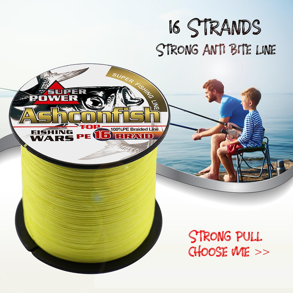 Super new hollowcore braided fishing line 16X 0.16mm-2.0mm strong pe cord 20LB-500LB braided wires rope 100Meter/109yards