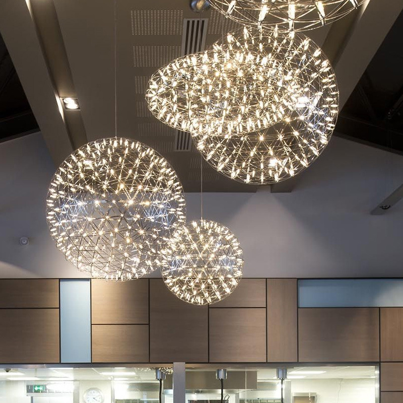 Classical Design Creative LED Pendant Light Firework Pendant Lights Stainless Steel Round Hanging Lamps Indoor Lustres De Led
