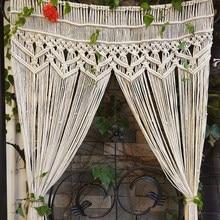 Tapiz de macramé tejido a mano, tapiz de algodón bohemio para divisor de habitación, ventana, puerta, cortinas, Fondo de boda, 180x95CM