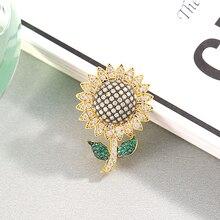 Elegant Crystal Flower Brooches For Women 2019 New Sunflower Brooch Pins Jewelry Christmas Gift broche femme bijoux de luxe