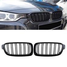 Gloss Black For BMW F30 F31 2012 2018 3 Series 320i 325i 328i 335i Twin FIns Dual Slat Front Kindey Bumper Grille