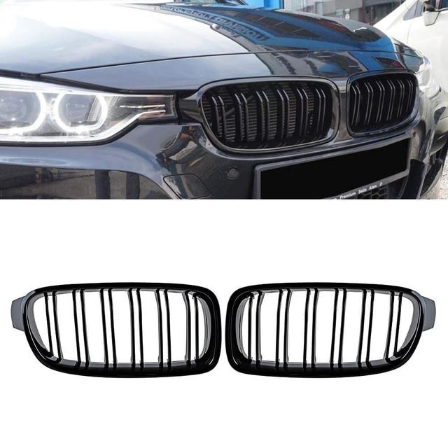 Màu Đen Bóng Cho Xe BMW F30 F31 2012 2018 Bộ 3 320i 325i 328i 335i Đôi Vây Kép Lát Mặt Trước kindey Dạng Lưới Tản Nhiệt
