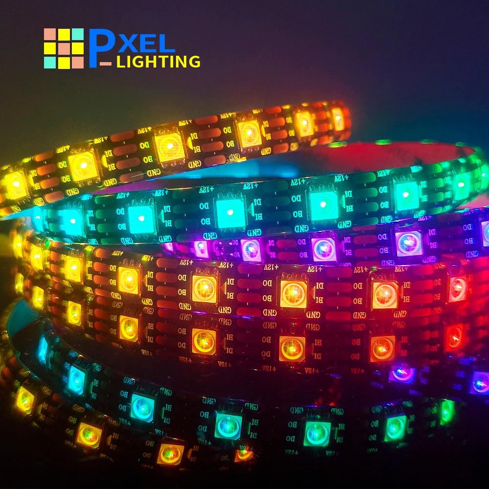 Dc12v ws2815 (ws2812b atualização) rgb led fita de tira endereçável dupla-sinal fita led para sala de luz de tira led inteligente cor cheia