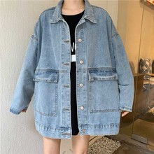 New Outerwear & Coats Denim Jacket Women Long Sleeve Windbreaker Casual Loose Boyfriend Jackets Female Basic