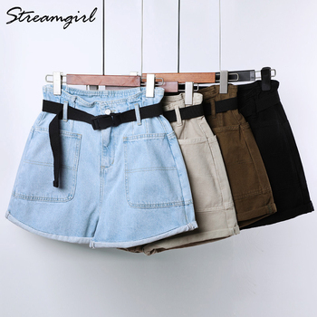 Summer High Waisted Shorts For Women With Belt Loose Short Jeans Women Denim Shorts With Pockets Jeans Short Woman Casual 8