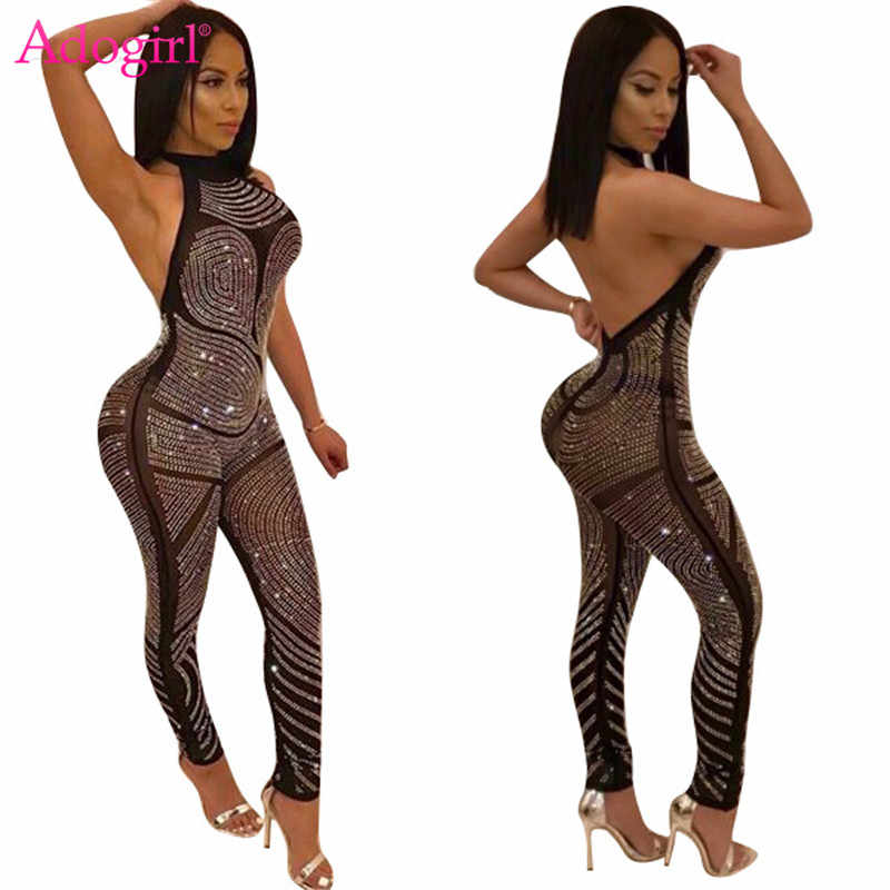 Adogirl Women Sexy Halter Diamonds Bandage Jumpsuits Open Back Slim Night Club Rompers High Quality Ladies Overalls Costumes