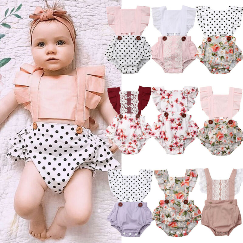 9 StylesToddler Newborn Baby Girl Lace Floral Jumpsuit Summer Clothes
