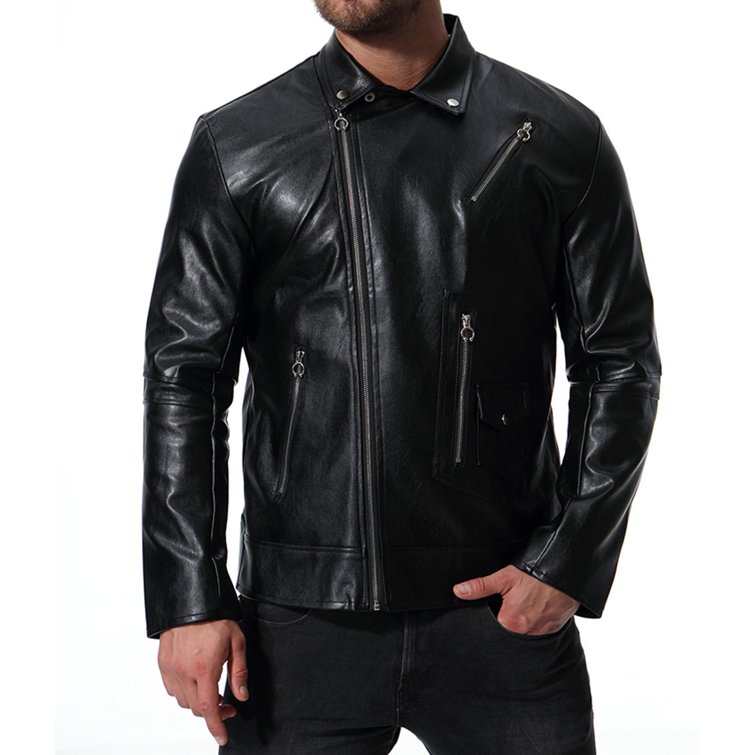2018 Autumn New Style Europe And America Fashion-Men Locomotive Multi-Zipper Leather Coat Large Size Leather Jacket XB028