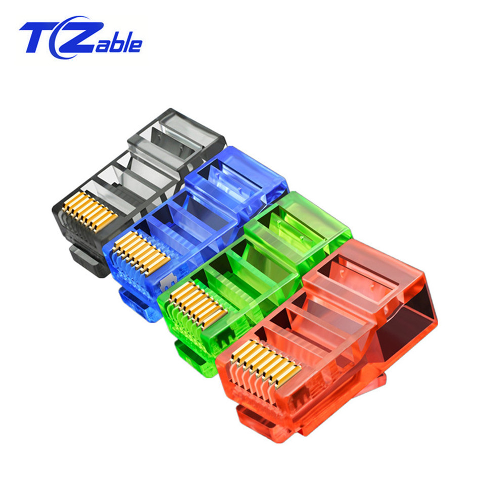 RJ45 Plug RJ 45 Connector Network Modular Plugs For Cat5 CAT5e RJ-45 8P8C Crystal Heads Gold Plated Black Red Blue Green Clear