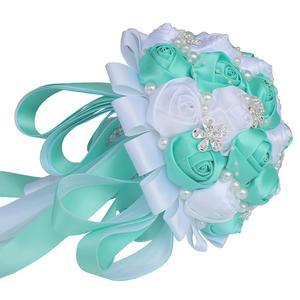 Image 3 - WifeLai חתונה פרחי כלה פרח זרי קריסטל שושבינה זר Buque Noiva סרט עלה מחזיק פרחים W224A 2