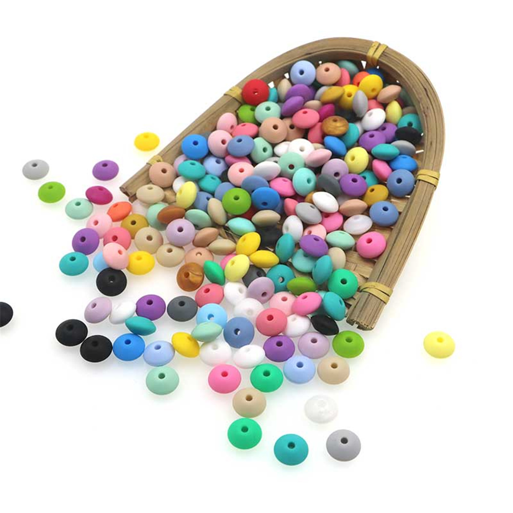 Kovict 100/500/1000/2000Pcs Baby Lentils Beads Silicone Beads 12mm Baby Teething beads DIY Pacifier Chain Clip Nurse Gift