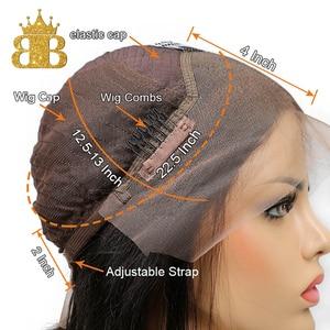 Image 3 - Colorido ombre peruca de cabelo humano 13x4 natural encaracolado frente do laço perucas de cabelo humano para as mulheres preto remy cabelo brasileiro babador