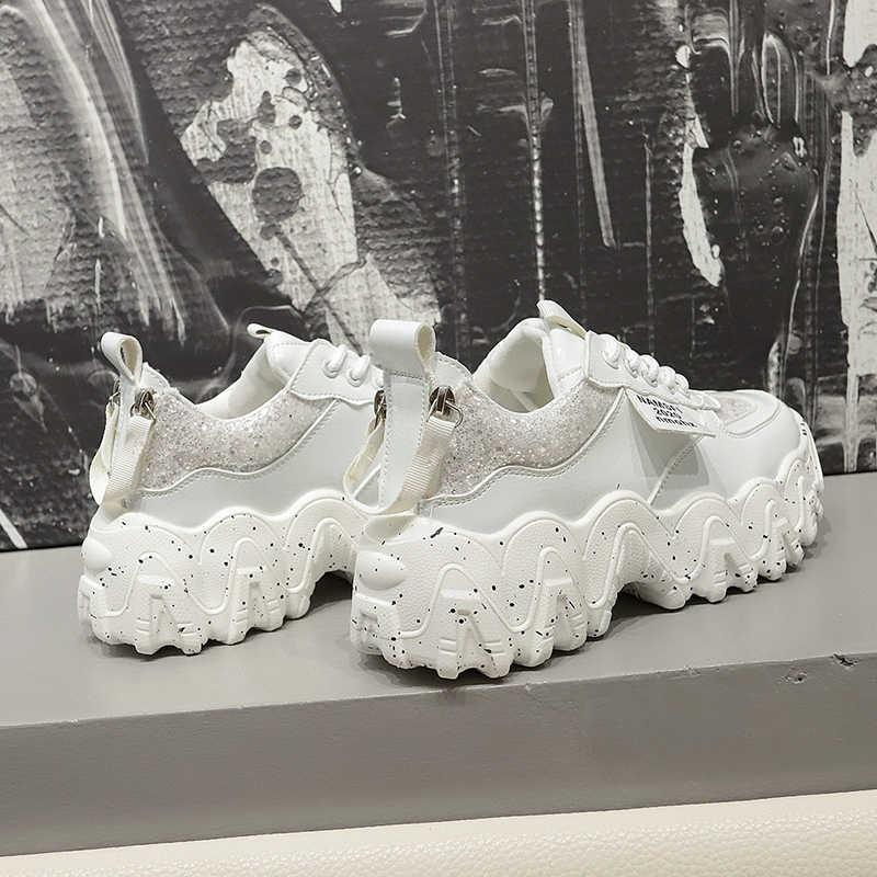 JXANG kadın tıknaz ayakkabı moda platformu bayanlar rahat ayakkabılar örgü dantel INS marka kadın vulkanize ayakkabı yürüyüş 2020 bahar